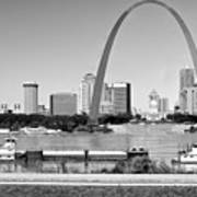 St Louis City Scape In Black And White Art Print
