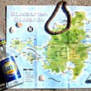 St. Martin St. Maarten Map Art Print