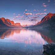 St Mary Lake In Early Morning With Moon Art Print