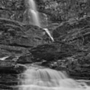 St Mary Triple Cascades - Black And White Art Print