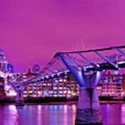 St Pauls And Millennium Bridge Over The River Thames Art Print