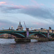 St. Paul's Cathedral Behind The Southwark Bridge During Sunset Art Print