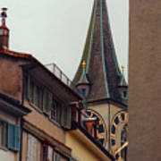 St. Peter Tower Zurich Switzerland Art Print by Susanne Van Hulst