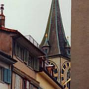 St. Peter Tower Zurich Switzerland Print by Susanne Van Hulst