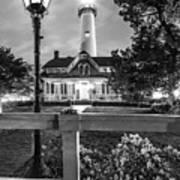 St. Simons Lighthouse Black And White Art Print