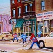 St. Viateur Bagel With Boys Playing Hockey Art Print by Carole Spandau
