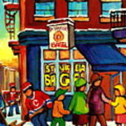 St. Viateur Bagel With Hockey Art Print