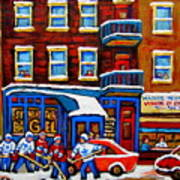 St Viateur Bagel With Hockey Montreal Winter Street Scene Art Print