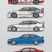 Stack Of Bmw 3 Series E36 Coupes Art Print