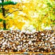 Stack Of Firewood Art Print