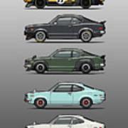 Stack Of Mazda Savanna Gt Rx-3 Coupes Art Print