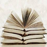 Stack Of Open Books Art Print by Elena Elisseeva