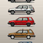 Stack Of Toyota Tercel Sr5 4wd Al25 Wagons Art Print