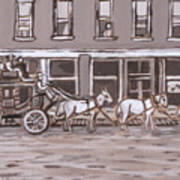 Stagecoach In Saratoga Historical Vignette Art Print