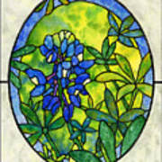 Stained Glass Bluebonnet Art Print