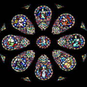 Stained Glass Rose Window In Lisbon Cathedral Art Print