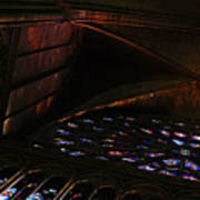 Stained Glass Sunset Notre Dame Paris Art Print