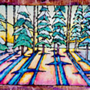 Stained Glass Watercolor Winter Pine Trees Art Print