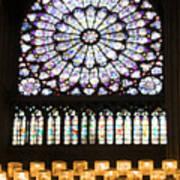 Stained Glass Window Of Notre Dame De Paris. France Art Print