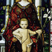 Stained Glass Window Of The Madonna And Child Art Print