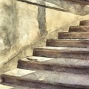 Staircase At Pitti Palace Florence Pencil Art Print