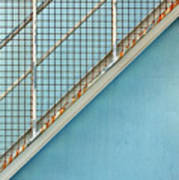 Stairs On Blue Wall Art Print