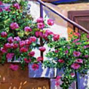 Stairway Floral Plein Air Art Print