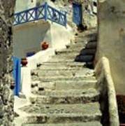 Stairway In Santorini Art Print