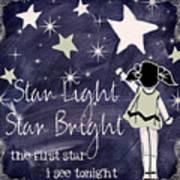 Star Light Star Bright Chalk Board Nursery Rhyme Art Print