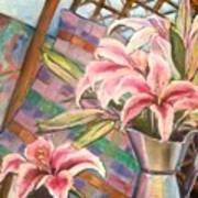 Star Lilies In The Studio Art Print
