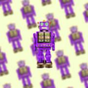 Star Strider Robot Purple Pattern Art Print