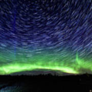 Star Trails And Aurora Art Print