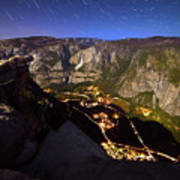 Star Trails At Yosemite Valley Art Print