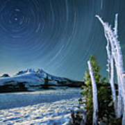 Star Trails Over Mt. Hood Art Print