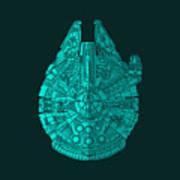 Star Wars Art - Millennium Falcon - Blue 02 Art Print