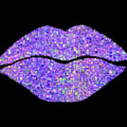 Stardust Kiss, Purple Hologram Lipstick On Pouty Lips, Fashion Art Art Print