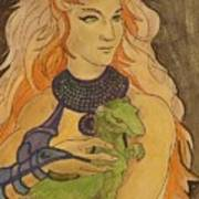 Starfire With Beast Boy In The Form Of A Ermine Art Print