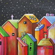 Starry Night In The Little City 1 Art Print