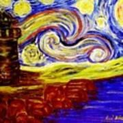 Starry Night Over Nubble Lighthouse  Art Print