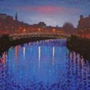 Starry Nights In Dublin Ha' Penny Bridge Art Print by John  Nolan
