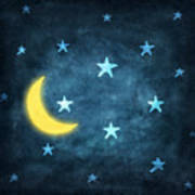 Stars And Moon Drawing With Chalk Art Print