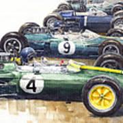 1963 Start British Gp  - Lotus  Brabham  Brm  Brabham Art Print