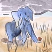 Startled Elephant Art Print