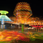 State Fair Rides At Night I Art Print by Clarence Holmes