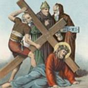 Station Ix Jesus Falls Under The Cross The Third Time Art Print