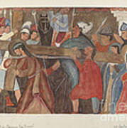 """Station Of The Cross No. 5: """"jesus Is Assisted In Carrying His Cross Art Print"""