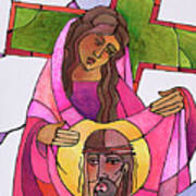 Stations Of The Cross - 06 St. Veronica Wipes The Face Of Jesus - Mmvew Art Print