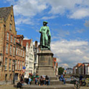Statue Of Jan Van Eyck Beside The Spieglerei Canal In Bruges Art Print
