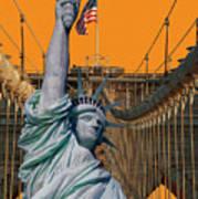 Statue Of Liberty - Brooklyn Bridge Art Print