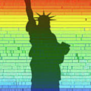 Statue Of Liberty Rainbow Art Print